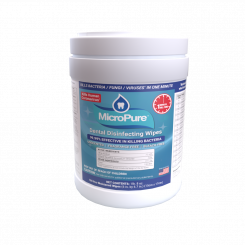 """MicroPure 1 Minute Kill Dental Disinfecting Wipes, 6""""x6.7"""", 160 Wipes/Canister (500840992)"""
