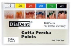 DiaDent Gutta Percha Points, ISO Sized, Size 15/40, Nonmarked, Spill Proof, 120/ Pack (101-S691)