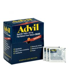 First Aid Only Advil Ibuprofen, 200 mg Doses, 2 Tablets/Pack, 50 Packs/ Box (15000)