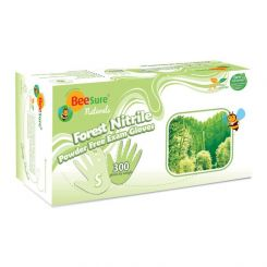 BeeSure Naturals Forest Nitrile Gloves PF Large Light Blue 300/box, (BE2948)