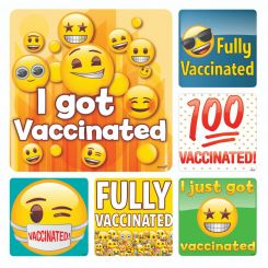 Sherman Stickers, Emoji Vaccinated, 100/ Roll (PS718)