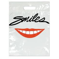 2 Color Bags Smiles Red Lips White Large 9x13, 100/Pk (LBG53)