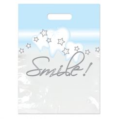 Sherman 2-Color Bags Stars & Smiles White Small 7.5 in x 9 in 100/Package (SBG64)