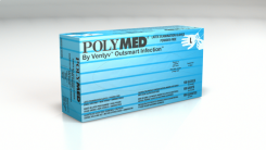 Polymed Latex Exam Powder Free Gloves, Textured, Large 8-8.5, Natural White, 100/Box (PM104)