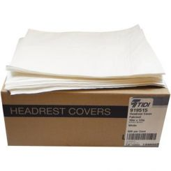Tidi Fabricel Headrest Cover, Poly Laminated, White, 12 in x 10 in, 500/ Case (919515)