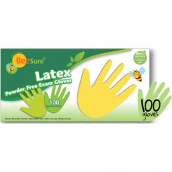 BeeSure Latex Gloves PF Small Natural/100  (BE2816)