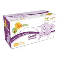 BeeSure Ear-Loop Face Mask Floral Orchid Purple 50/box, Level-2 (BE2320)