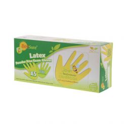 BeeSure Latex Gloves PF Large Natural 100/box, (BE2818)