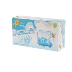 BeeSure Naturals Glacier Nitrile Gloves PF Large Light Blue 300/box, (BE2928)