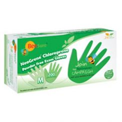 BeeSure NeoGrene Chloroprene Gloves PF Large Green 200/box,  (BE1188)