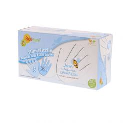 BeeSure Slim Nitrile Gloves PF Large White 200/box, (BE1128)
